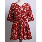 Cute Round Neck Puff Sleeve Tiny Flower Print Dress For Women
