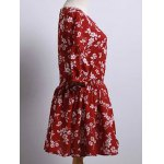 cheap Cute Round Neck Puff Sleeve Tiny Flower Print Dress For Women