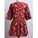 Cute Round Neck Puff Sleeve Tiny Flower Print Dress For Women deal
