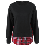 Side Slit Plaid Trim Sweatshirt deal