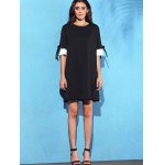 Stylish Round Neck Half Sleeve Pleated Spliced Women's Dress for sale
