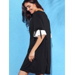 Stylish Round Neck Half Sleeve Pleated Spliced Women's Dress deal
