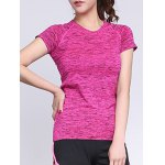 cheap Active Style Round Neck Short Sleeves Space Dye T-Shirt For Women
