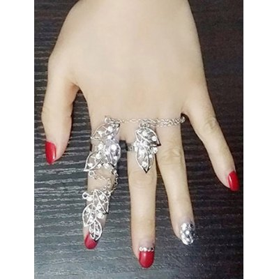 Rhinestone Foliage Full Index Finger Ring