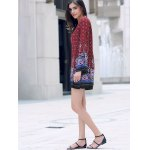cheap Casual Round Neck Long Sleeve Printed Women's Tunic Dress