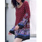 Casual Round Neck Long Sleeve Printed Women's Tunic Dress