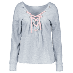 best Round Neck Loose Lace-Up Sweatshirt