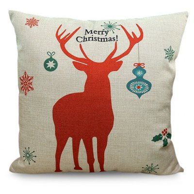 Merry Christmas Deer Printed Sofa Decorative Pillow Case