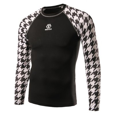 Active Houndstooth Raglan Long Sleeve Cycling T-Shirt