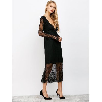 Plunging Neck See Thru Lace Maxi Dress