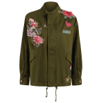 Stand Neck Rivet Embroidered Patchwork Coat photo