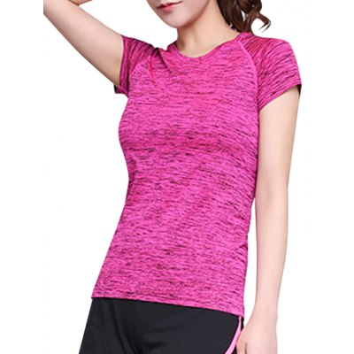 Round Neck Short Sleeves Space Dye T-Shirt For Women