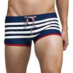 Color Block Stripes Low Waist Lace-Up Boxer Swimming Trunks For Men