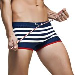 Color Block Stripes Low Waist Lace-Up Boxer Swimming Trunks For Men for sale