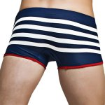 best Color Block Stripes Low Waist Lace-Up Boxer Swimming Trunks For Men