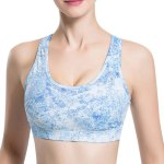 Stylish Scoop Neck Print Hollow Out Racer Back Sports Bra For Women