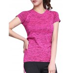 Active Style Round Neck Short Sleeves Space Dye T-Shirt For Women for sale