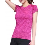 Active Style Round Neck Short Sleeves Space Dye T-Shirt For Women