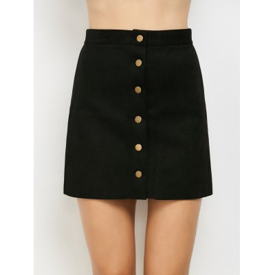 Single Breasted Faux Suede A-Line Skirt