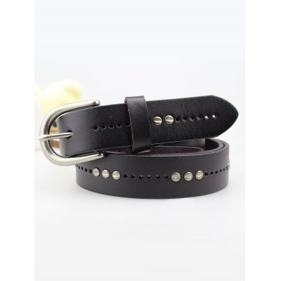 Rivet Insert Leather Belt