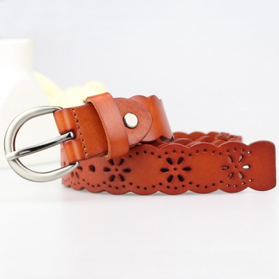 Hollow Out Snowflake Scalloped Leather Belt