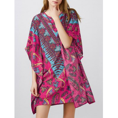 Notched Collar Printed Dolman Sleeve Dress