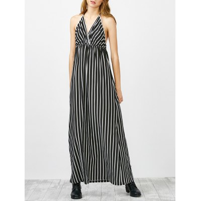 Halter Striped Long Backless Casual Dress