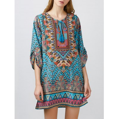 Tribal Printed Tessels Mini Tunic Dress