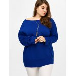 cheap Plus Size Ribbed Cut Out Sweater