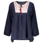 Ruched Embroidered Loose Blouse deal