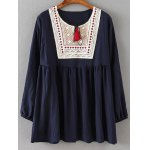 Ruched Embroidered Loose Blouse for sale
