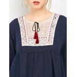 best Ruched Embroidered Loose Blouse