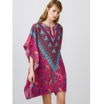 cheap Notched Collar Printed Dolman Sleeve Dress