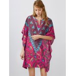 Notched Collar Printed Dolman Sleeve Dress deal