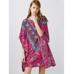 Notched Collar Printed Dolman Sleeve Dress for sale