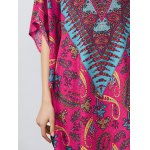 Notched Collar Printed Dolman Sleeve Dress photo
