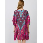 best Notched Collar Printed Dolman Sleeve Dress