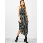 cheap Halter Striped Long Backless Casual Dress