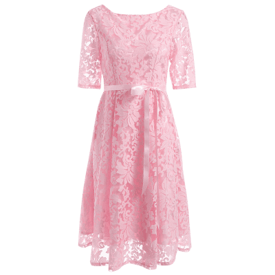 Embroidered Knee Length Lace Dress