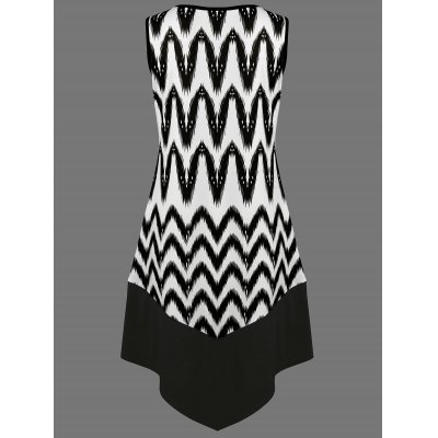Zigzag Asymmetrical Casual Tank Dress Fashion