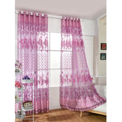 Floral Embroidered Perforate Tulle Window CurtainWindow Treatments<br>Floral Embroidered Perforate Tulle Window Curtain<br><br>Applicable Window Type: French Window<br>Function: Translucidus (Shading Rate 1%-40%)<br>Installation Type: Ceiling Installation<br>Location: Window<br>Material: Cloth Curtain + Voile Curtain<br>Opening and Closing Method: Left and Right Biparting Open<br>Package Contents: 1 x Curtain<br>Pattern Type: Floral<br>Processing Accessories Cost: Excluded<br>Style: European and American Style<br>Technics: Woven<br>Type: Curtain<br>Use: Home, Hotel, Office<br>Weight: 0.3240kg