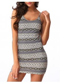Backless Graphic Sleeveless Bodycon Dress