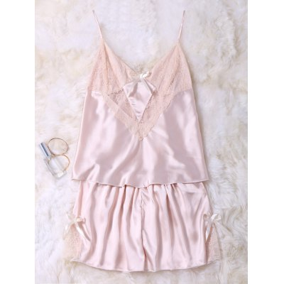 Lace Insert Cami Tank Top and Shorts