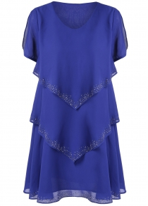 Rhinestone Layered Chiffon Casual Dress Fashion