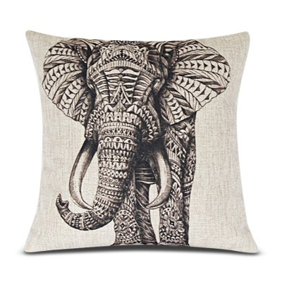 Classical Elephant Pattern Linen Decorative Pillowcase (Without Pillow Inner)