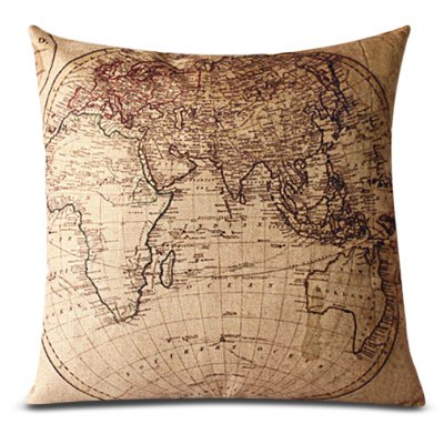 Classical Linen World Map Pattern Decorative Pillowcase(Without Pillow Inner)
