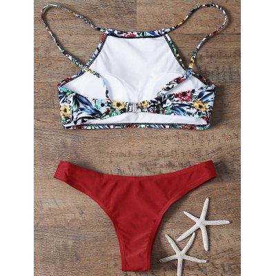 Trendy Floral Print High Neck Womens Bikini SetWomens Swimwear<br>Trendy Floral Print High Neck Womens Bikini Set<br><br>Bra Style: Padded<br>Elasticity: Elastic<br>Gender: For Women<br>Material: Polyester<br>Neckline: Halter<br>Package Contents: 1 x Top  1 x Briefs<br>Pattern Type: Plant<br>Support Type: Wire Free<br>Swimwear Type: Bikini<br>Waist: Low Waisted<br>Weight: 0.2200kg