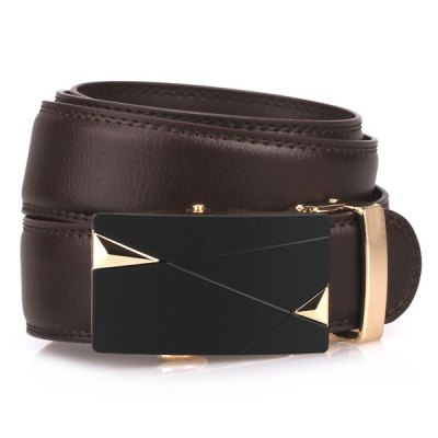 Auto Buckle Triangle Bulge Faux Leather Belt