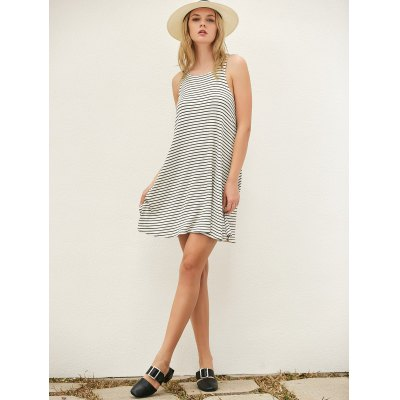Cut Out Striped Casual Dress