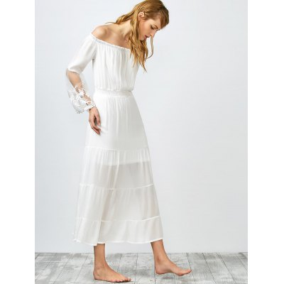 Off Shoulder See Thru Shirred Maxi Dress